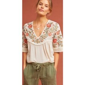 Anthropologie Ranna Gill Jumel Embroidered Blouse